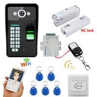 Водонепроницаемый Беспроводной WI FI RFID пароль распознавания отпечатков пальцев видео Дверные звонки домофон Система контроля доступа + ауд