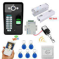 Waterproof Wireless WIFI RFID Password Fingerprint Recognition Video Doorbell Intercom Access Control System+Electric Bolt Lock