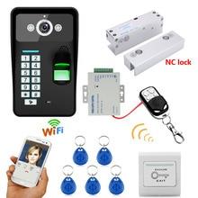 Waterproof Wireless WIFI RFID Password Fingerprint Recognition Video Doorbell Intercom Access Control System+Electric Bolt Lock