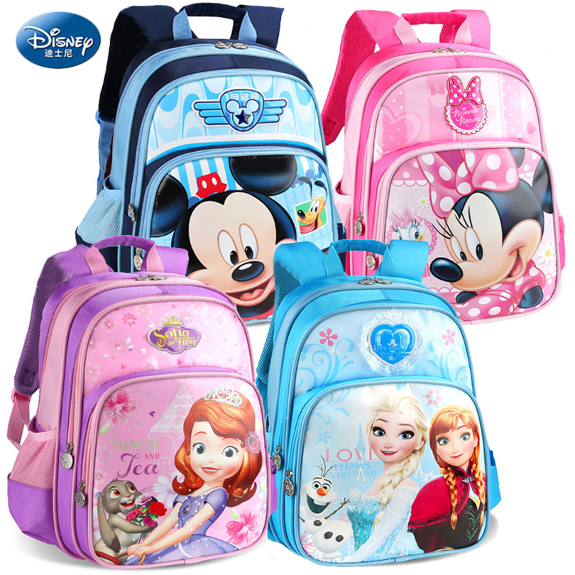 Disney 2019 Mickey Mouse & Minnie Protect the Spine Backpacks Fashion Schoolbag Kids Backpack Kid School Bag for Girls Grade 1-4