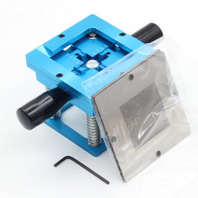 Image 2 - Blue BGA reballing kit 90*90mm BGA reballing station with hand shank Gift 10/PCS BGA Universal Stencil-in Clamps from Home Improvement