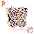 2016 Winter Authentic 925 Sterling Silver Charm Fit Pandora Original Bracelet Rose Gold Butterfly Charm With CZ Beads Berloque