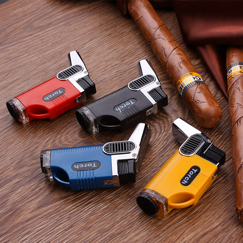 Boutique Windproof Butane Dual Nozzles Fire Jet Cigar Turbo Torch Lighter Key Ring Multiple colors to choose from in Matches from Home Garden