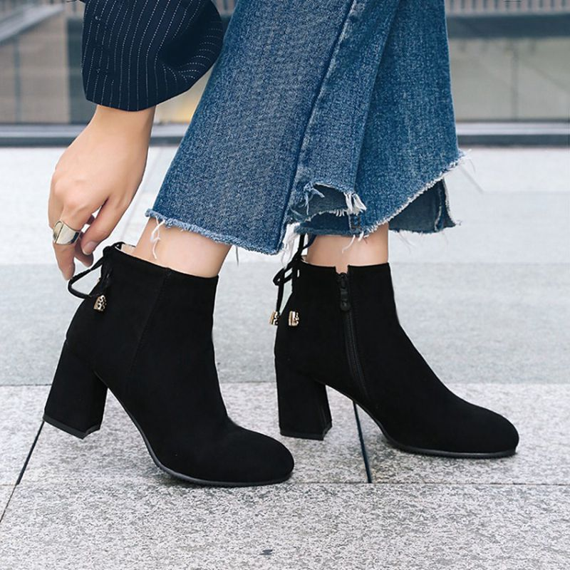be25da7ac86 QPLYXCO 2017 New sale Autumn winter ankle Boots shoes Big small Size 32 46  Women short Boots zipper Pointed toes High Heel 07 8-in Ankle Boots from Shoes  on ...