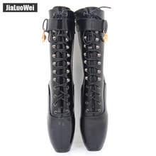 jialuowei 7″ Spike High Heel BALLET Black lace up Mid-calf Boots Fetish ballet boots plus size 36-46