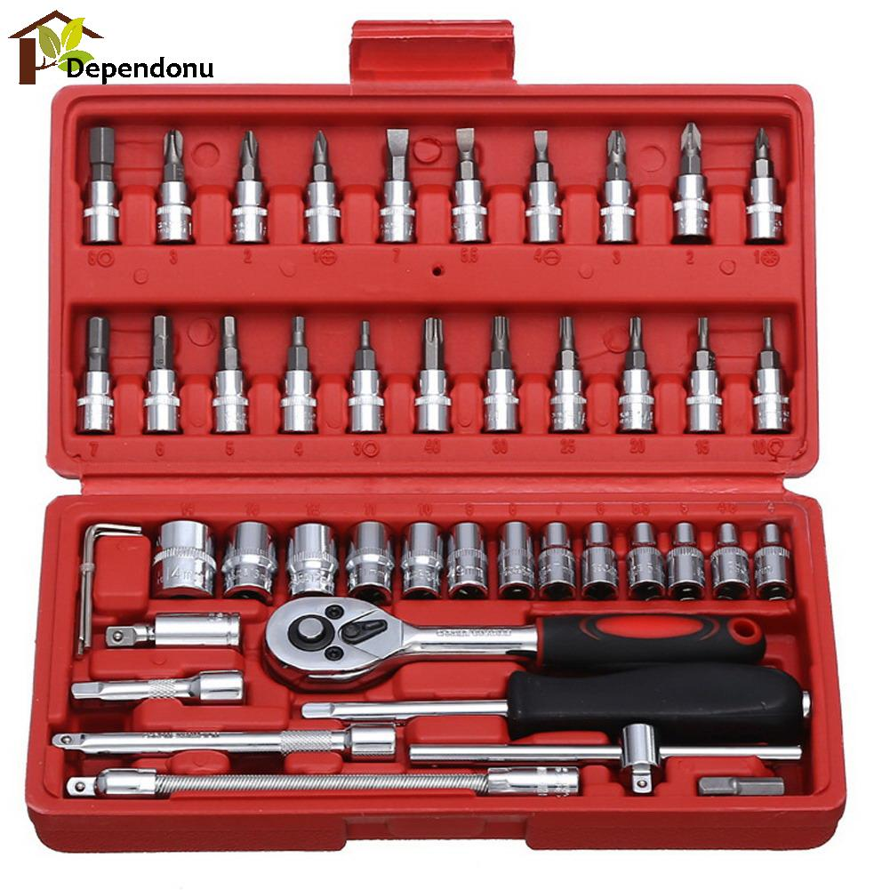 46pcs/set Carbon Steel Wrench Batch Head Ratchet Pawl Socket Spanner Screwdriver Household Car Repair Tool 46pcs set carbon steel combination tool set wrench batch head ratchet pawl socket spanner screwdriver household car repair tool