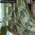 Modern Leaf Blinds Blackout Curtains For Living Room Tulle Roman Curtain For Windows New Sheers Cortina Green Cheap Panel Fabric