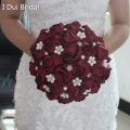 Burgundy Bridal Bouquet Hot Sale Satin Rose Flower Crystal Pearl Beaded Wedding Accessory Beautiful Buque De Noiva 2016 New