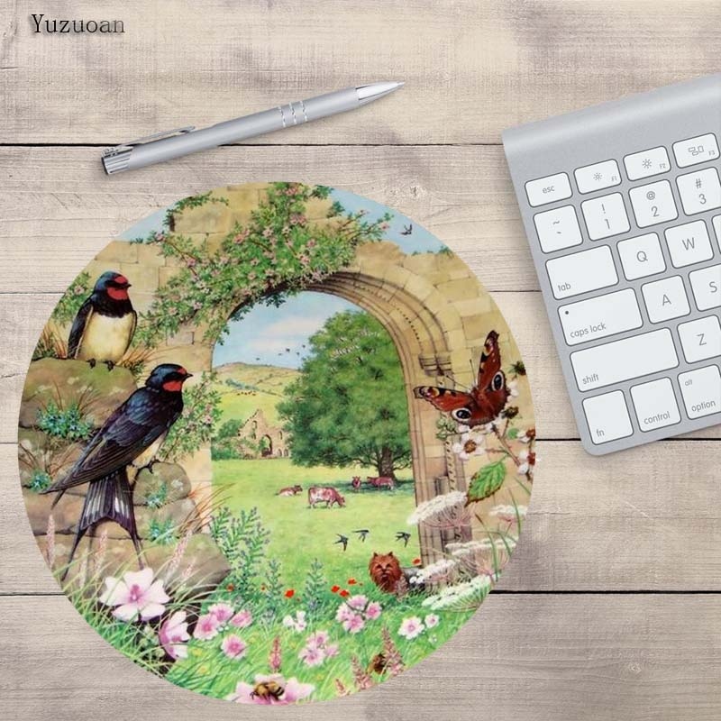 Yuzuoan Design Jolly Birds Unique Desktop Pad Mousepads Computer Animation Round Mouse Mat Round Mice Pad For CSGO LOL Gamer