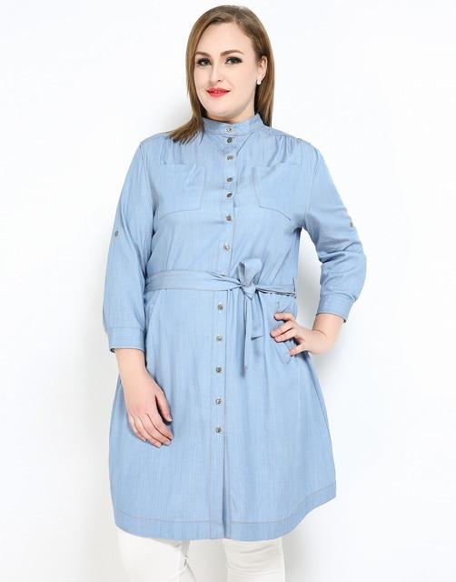 aliexpress : buy cute ann women's plus size denim shirt dress
