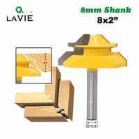 """LA VIE 1PC 8mm Shank 45 grados muesca tenón cuchillo medio bloqueo broca para ranuradora de inglete 3/4 """"Stock carburo para trabajar madera fresa MC02005"""