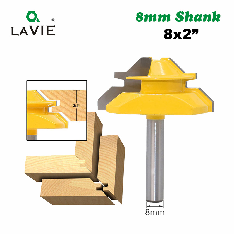 LA VIE 1PC 8mm Shank 45 Degree Mortise Tenon Knife Medium Lock Miter Router Bit 3/4