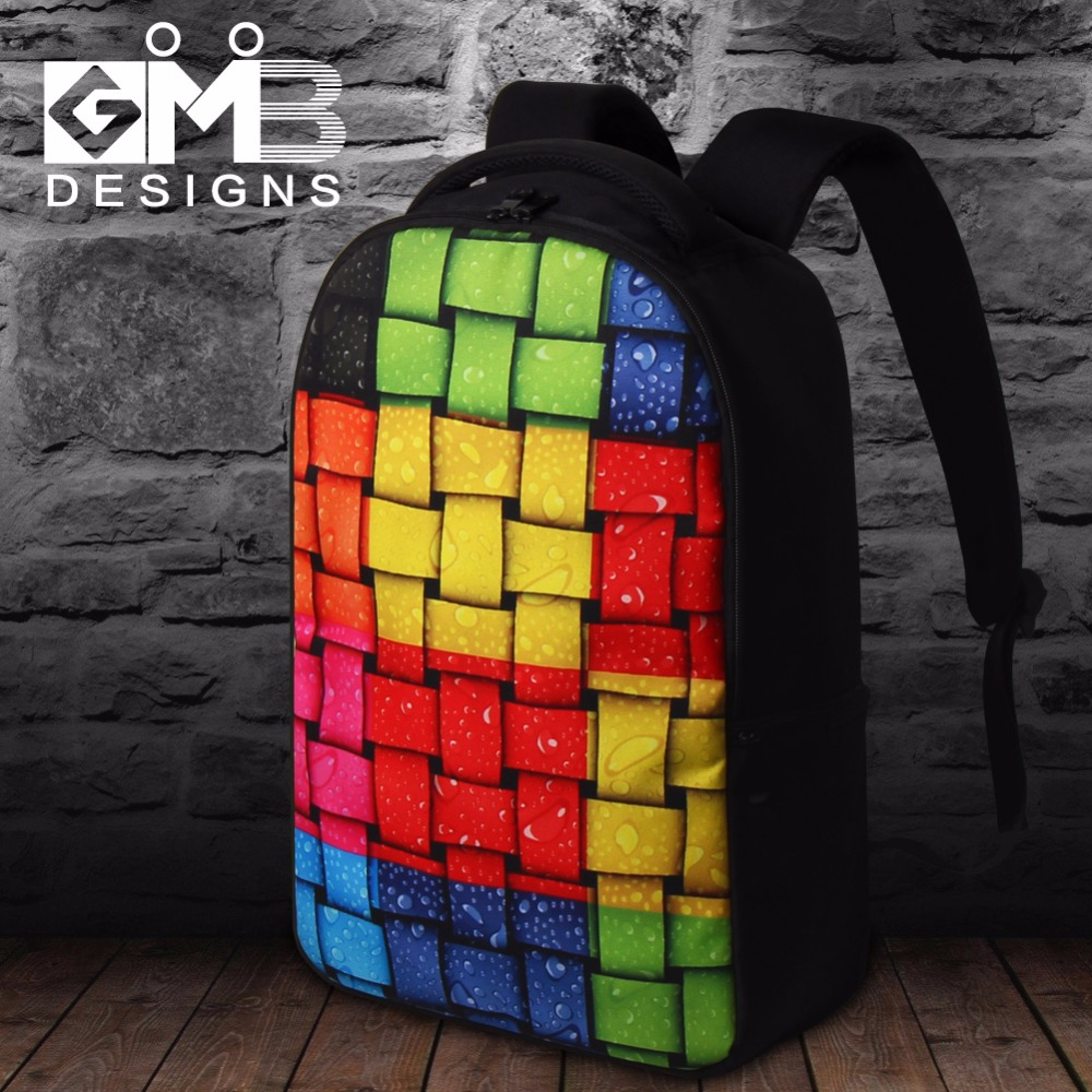 Free shipping Cool 17 Inch College Student Laptop Backpack for 14,15.6 inch,Geometric Pattern backpack,men traveling bag pack