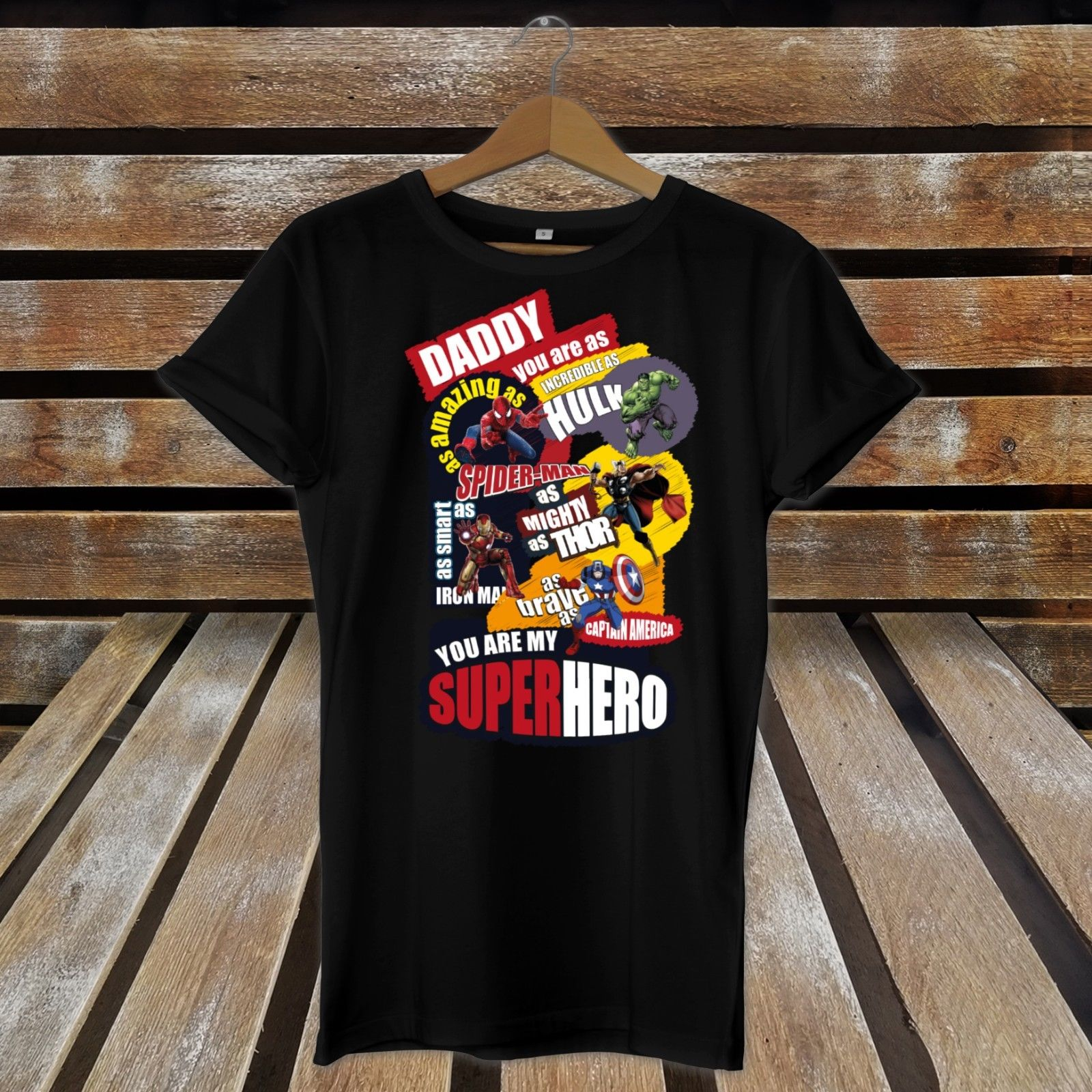 Daddy You Are MY Favourite Superhero COMIC Book Printed Fathers Day T-Shirt Gift New T Shirts Funny Tops Tee New Unisex Funny