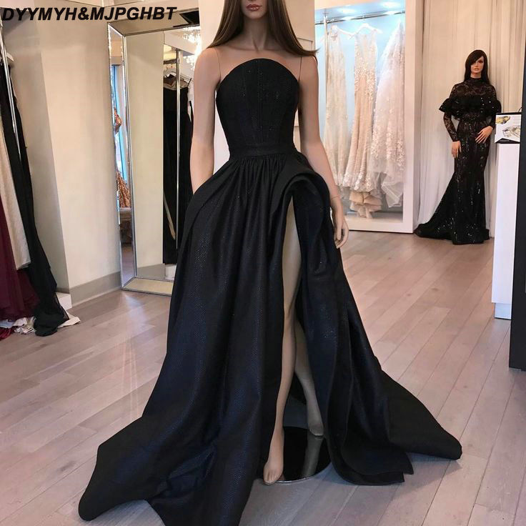 Long Evening Gowns For Wedding: 2019 Long Black Evening Dresses With High Slit Sweep Train