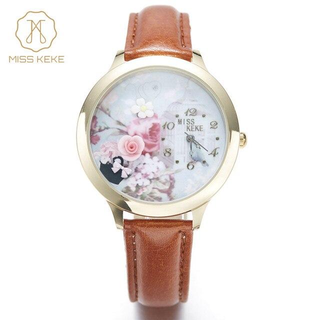807b78033e4 Miss Keke3d Argila Bonito Mini Mundo Subiu Senhoras de Ouro Relógio de  Strass Relógios Relogio feminino Mulheres de Quartzo Couro Wristwatches001