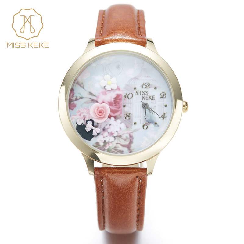 Miss Keke3d Clay Cute Mini World Rose Gold horloge Strass Horloges Relogio Feminino Dames Dames Quartz lederen horloges001