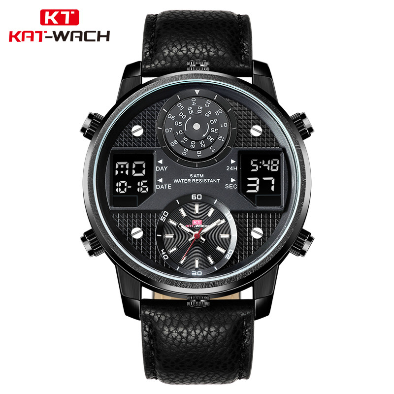 KAT-WACH Military Watch with Genuine Leather Strap Big Case 3D Two Layers Dial Three Movement Quartz Digtal Black Watch For Men jis flash light men quartz watch with leather strap