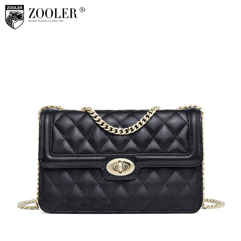ZOOLER Mode Véritable sacs en cuir pour femme De Luxe croix corps chaînes célèbre marque bolsos mujer épaule sac E-119