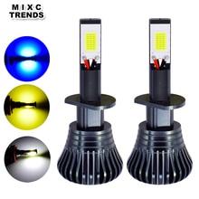 2 adet LED stroboskop araba sis lambası 12V H1 H11 H8 H7 H3 9005 9006 HB3 HB4 880 881 Flash COB LED sis ampuller beyaz sarı mavi
