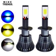 2 uds. De luz antiniebla LED estroboscópica para coche, 12V, H1 H11 H8 H7 H3 9005 9006 HB3 HB4 880 881 COB, bombillas de luz antiniebla LED, blanco, amarillo y azul