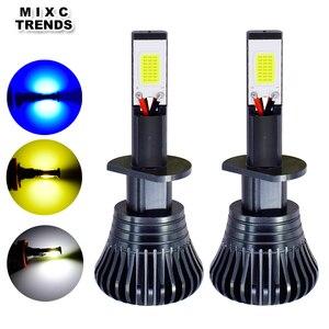 Image 1 - 2Pcs 스트로브 LED 자동차 안개 램프 12V H1 H11 H8 H7 H3 9005 9006 HB3 HB4 880 881 플래시 COB LED 안개 전구 흰색 노란색 파란색