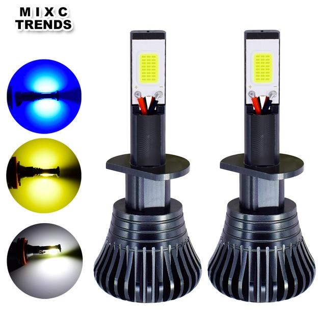2Pcs 스트로브 LED 자동차 안개 램프 12V H1 H11 H8 H7 H3 9005 9006 HB3 HB4 880 881 플래시 COB LED 안개 전구 흰색 노란색 파란색