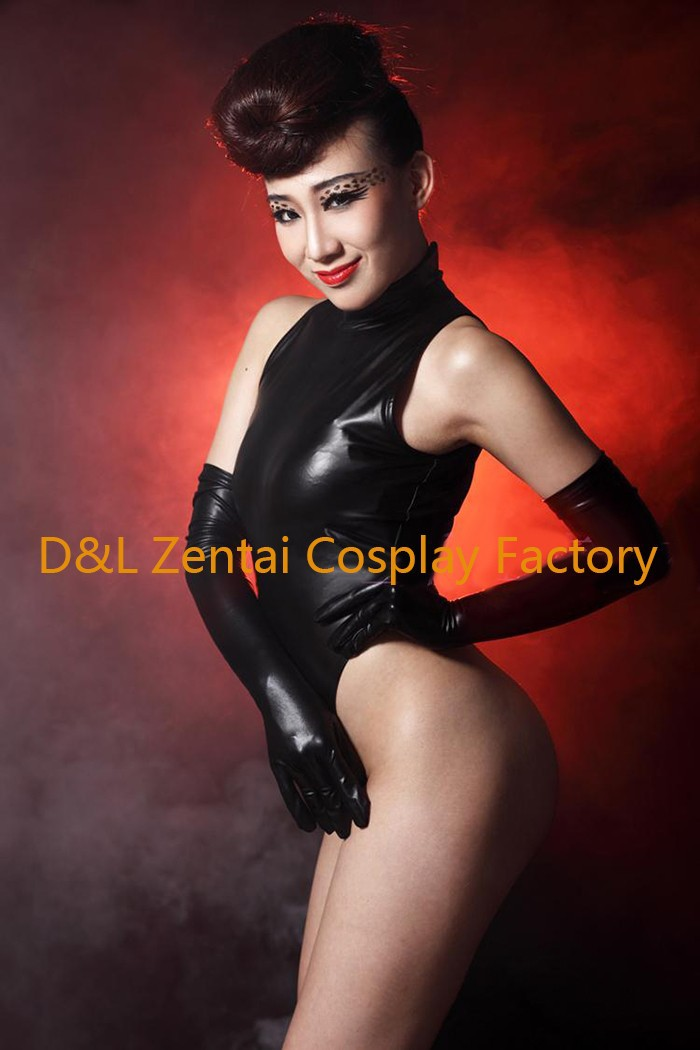 Free Shipping DHL Adult Sexy Costume Black Shiny Metallic Zentai Catsuits for Women MY004 (4)