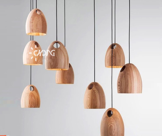 Modern Simple Style Individual Naturn Wood Pendant Lights Home Decoration Lamps For Living Room Bed