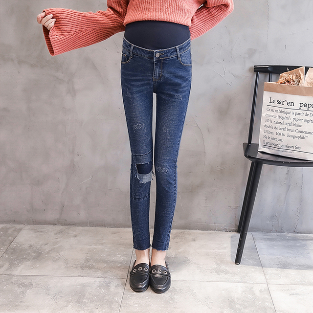 601b3080a90d Autumn Maternity Jeans Fashion Maternity Clothes Elasticity Denim Pants For  Pregnant Women Maternity Clothing Trousers