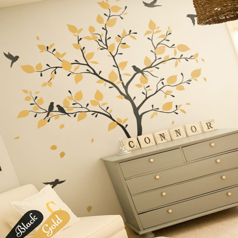creative unisex tree wall decals tattoos nursery bedroom decorations diy removable wallpaper art sticker 827x61cm - Nursery Decorations