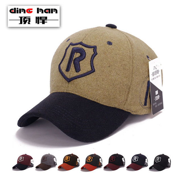 2016 New baseball cap men's Korea British cotton hat tide male ladies woolen cloth sun hat felt baseball hat adjustable B-1708