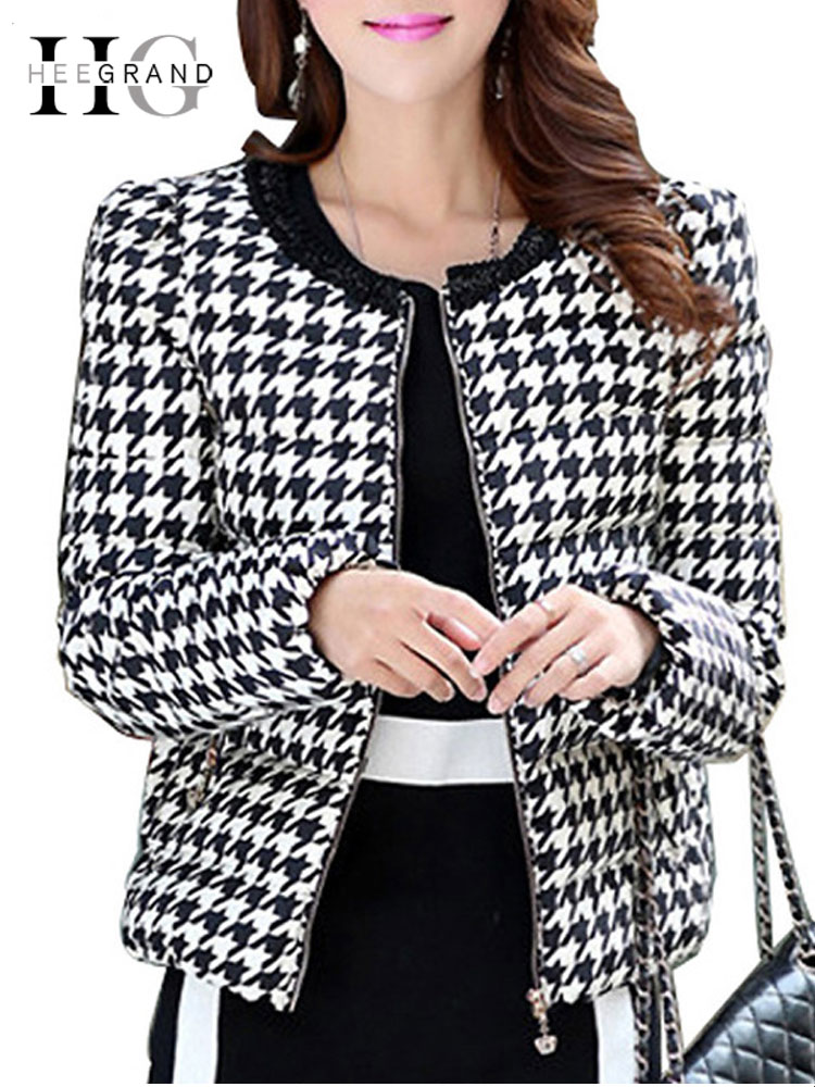 HEE GRAND 2018 Woman Winter   Coat   Houndstooth Warm Elite   Down     Coat   Vintage Plaid Slim Parkas Jackets WWY385