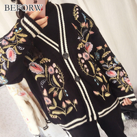BEFORW New Casual Vintage Loose Autumn And Winter Cardigan Women Long Sleeves Single Breasted Sweater Knitwea