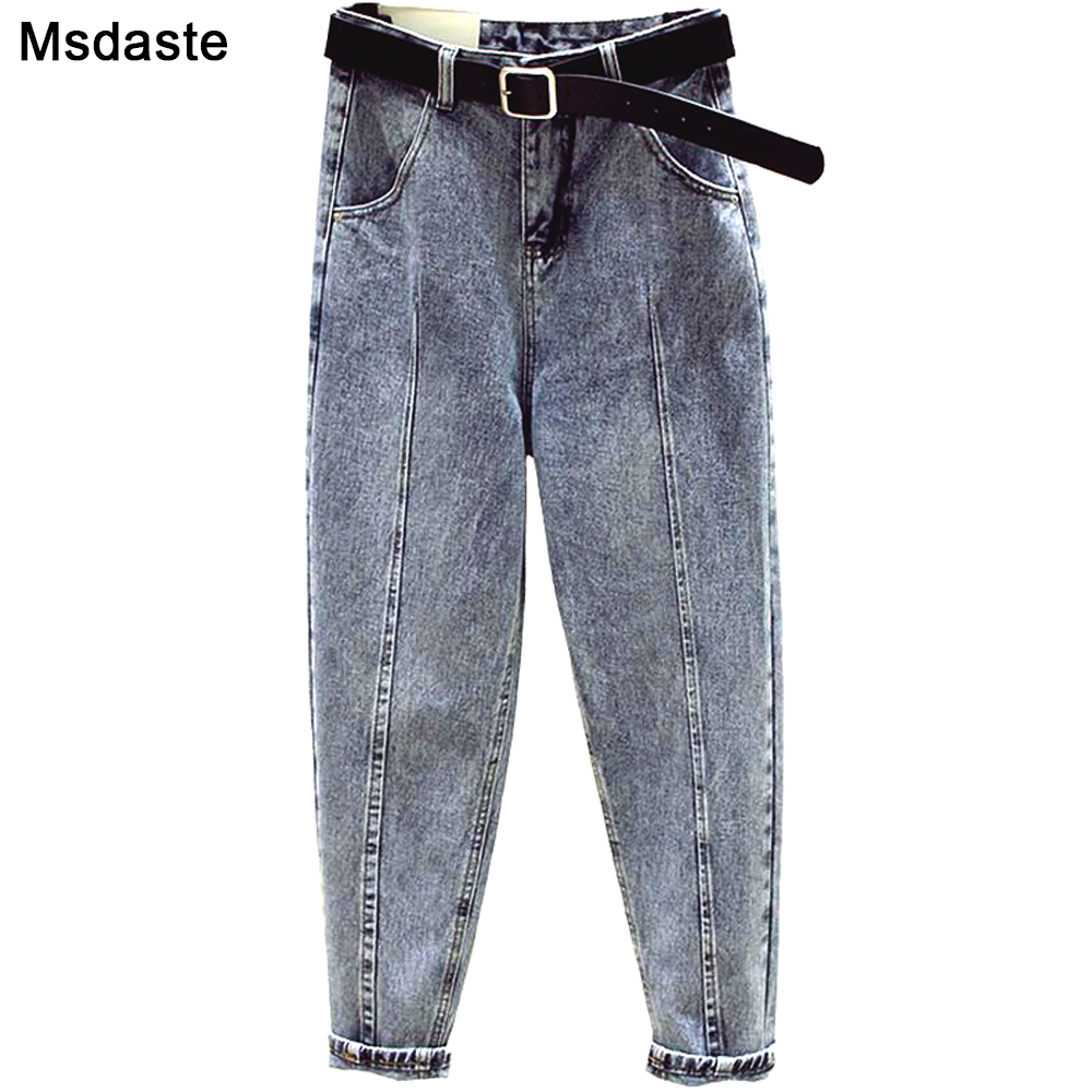 Jeans Women Pants 2019 Autumn High Waist Jean Femme Pantalon Trousers Streetwear Vintage Ankle-Length Fitness Harem Denim Pants