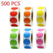 500 шт/рулон Chroma этикетки цветной код Dot этикетки наклейки 1 дюйм красный, зеленый, белый, учительские канцелярские принадлежности канцелярские наклейки