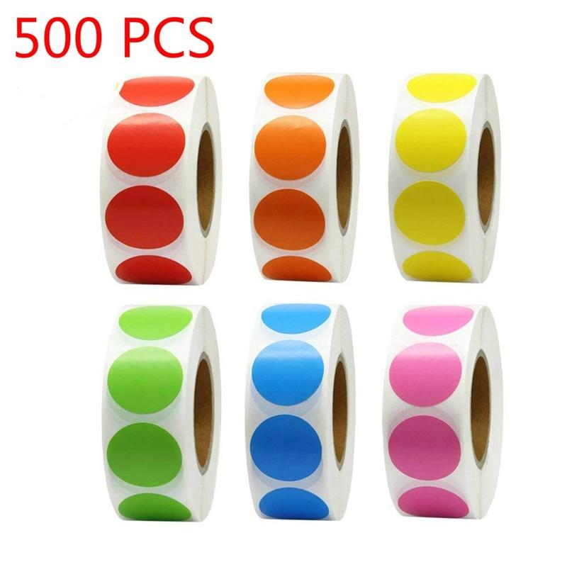 500 шт./рулон цветного кода для Chroma, наклейки в горошек, 1 дюйм, красный, зеленый, белый, канцелярские принадлежности для учителя, канцелярские ...