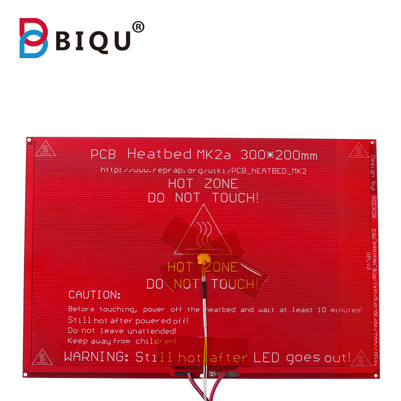 MK2A <font><b>300*200</b></font>*2.0mm RepRap RAMPS 1.4 <font><b>Heatbed</b></font> with led Resistor and cable for Mendel 3D printer hot bed image