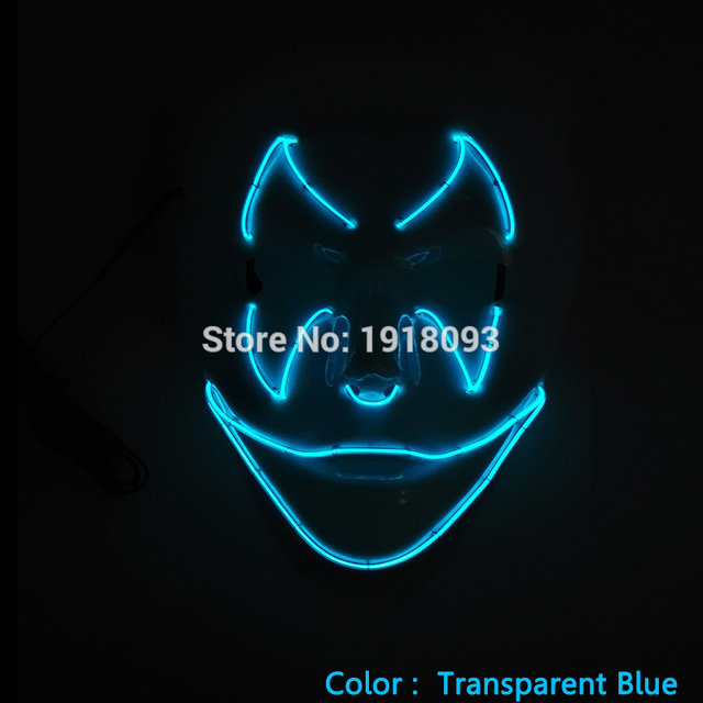 Hot Sound activated Driver+EL wire Novelty Lighting Terror Mask Halloween Mask EL wire Festival LED Neon Glowing Carnival Mask