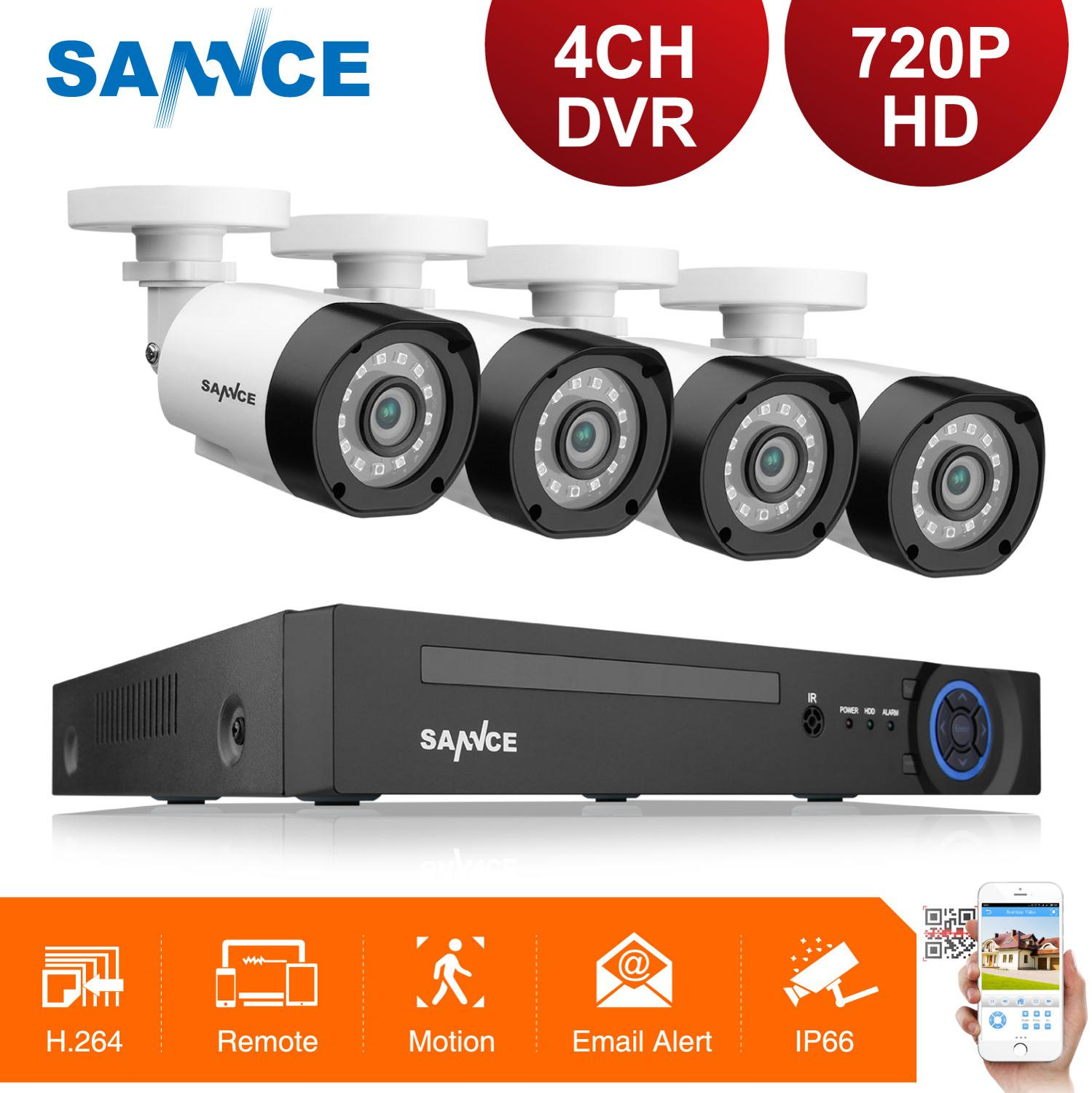 SANNCE 4CH 720P CCTV Security Camera System 5IN1 HDMI DVR With 100W 4PCS Outdoor Weatherproof AHD Cameras Home Surveillance KitSANNCE 4CH 720P CCTV Security Camera System 5IN1 HDMI DVR With 100W 4PCS Outdoor Weatherproof AHD Cameras Home Surveillance Kit