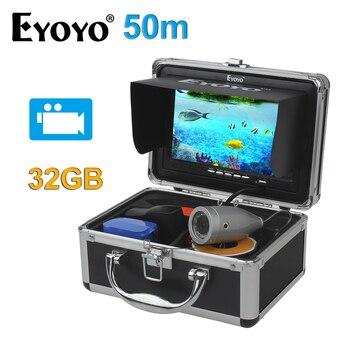 EYOYO Original 7Full Silver Video Fish Finder HD 1000TVL 50M Underwater Fishing Camera White LED Video Recording 32GB Fish Cam EYOYO