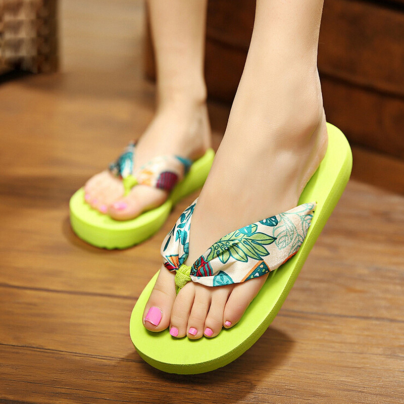 906b3a0b61aa Mudinear New Hot sale 10 color brand design Women Summer Ethnic style  sandals Big Flower flip flops lady flat shoes -in Flip Flops from Shoes on  ...
