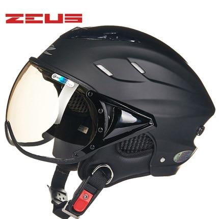 easy matching Matte black ZEUS 125B half face motorcycle helmet,motocross MOTO electromobile motorbike safety helmet protective outdoor war game military skull half face shield mask black