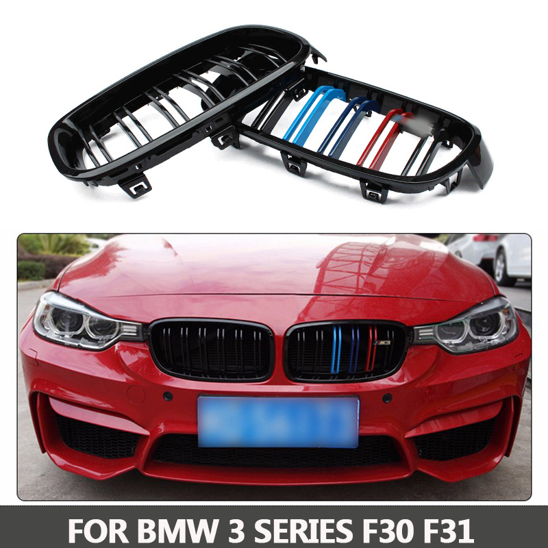 l M3 Style 1 Pair F30 Car Styling Gril F31 Kidney Black Replacement Grille For BMW F30 F31 2012+ 320i 325i 328i 335i Gloss Black 1 pair new black flame l