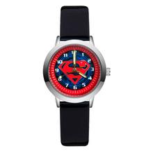 Moda Cartoon śliczne dość styl Superman dzieci zegarki dla dzieci uczeń dziewczyny chłopcy skóra quartz zegarek na rękę zegar JA156 tanie tanio JINNAIER Nie wodoodporne Moda casual Stop Klamra Szkło 21cm Nie pakiet 30mm Skórzane ROUND 14mm Brak