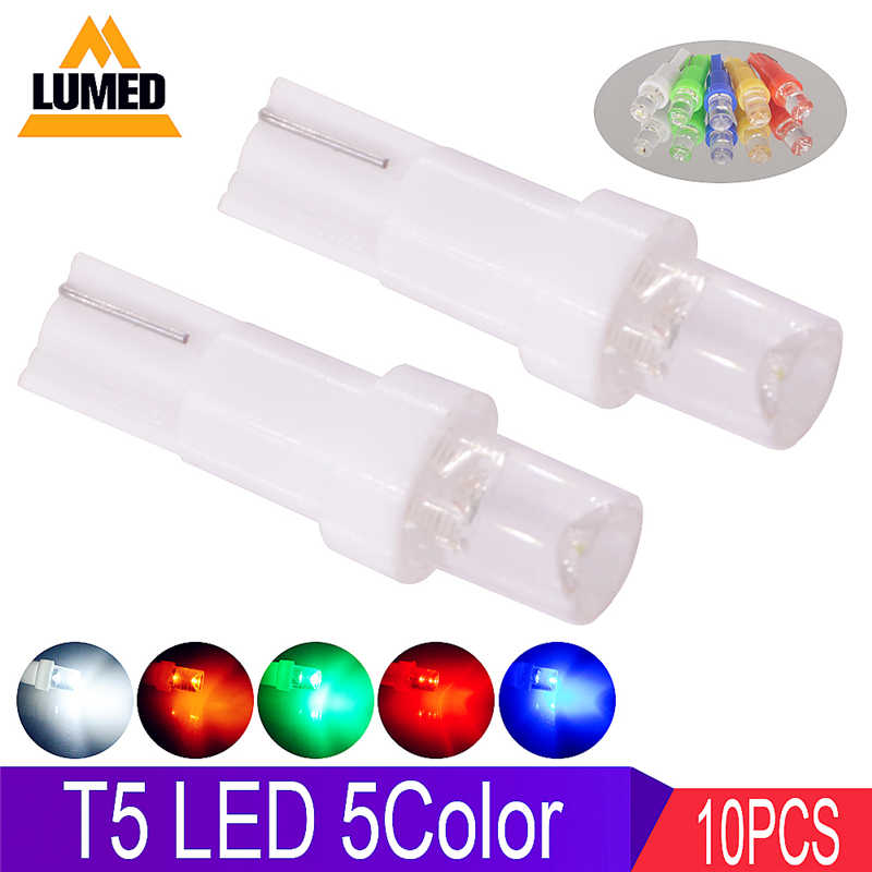 10x T5 LED Car LEDs Interior Lamp Dashboard Gauge Instrument Auto Side Wedge Light Bulb 12V