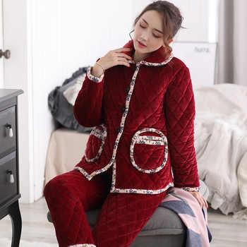 Thicken Coral Fleece Women Pajamas Set Winter Ladies Warm Sleepwear Mom Long Sleeved Lingerie Femme Home Clothes Christmas Gift - Category 🛒 Underwear & Sleepwears
