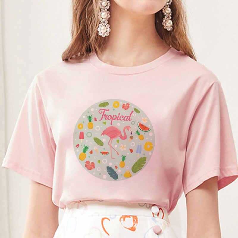Kartun Flamingo Buah Print GRAPHIC TEE SHIRT Tumblr Lucu Tshirt Atasan Musim Panas Wanita Baru Lengan Pendek Ukuran Besar T-shirt