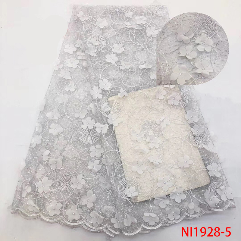 High Quality Lace 3D Lace Fabric,White African  With Flowers, French Lace Fabric Hot Sale For Dresses KSNI1928-5
