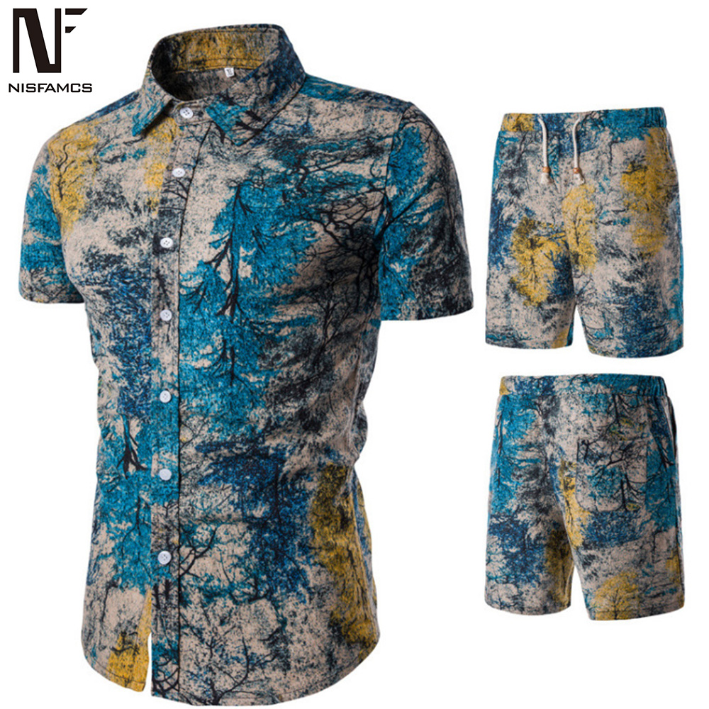 Floral Print Suit Men Hip Hop Streetwear Male Tracksuit Set Novelty Short Sleeve Shirts Spring Summer Beach Shorts 2019 Suits